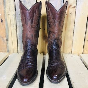 Aguila Real Mens Snakeskin Cowboy Boots 7.5 (26.5)